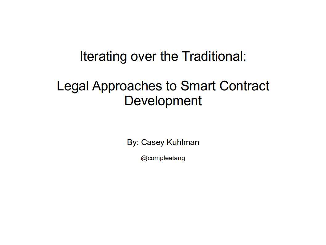 Lefal Approaches to smart contract Development